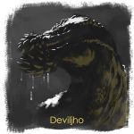 character_name deviljho dinosaur dragon dripping drooling face glowing glowing_eyes looking_afar monster_hunter no_humans profile red_eyes solo spikes tony_(gxxr5837) twisted_neck