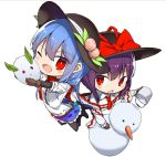 2girls bangs black_footwear black_hat black_legwear black_skirt blouse blue_hair blue_skirt blush boots bow breasts brown_gloves bucket carrot center_frills chibi eyebrows_visible_through_hair food frilled_shawl frills fruit full_body gloves hair_between_eyes hat hat_bow hinanawi_tenshi holding holding_bucket jumping leaf long_hair long_sleeves looking_at_viewer multiple_girls nagae_iku neropaso open_mouth pantyhose peach petticoat puffy_sleeves purple_hair red_bow red_eyes red_neckwear shawl shirt short_hair short_sleeves simple_background skirt small_breasts smile snow_bunny snowman touhou white_background white_blouse white_shirt wing_collar