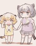 2girls alternate_costume animal_ears black_hair black_jaguar_(kemono_friends) blonde_hair blush child commentary_request dress eyebrows_visible_through_hair flying_sweatdrops frilled_dress frills hand_holding jaguar_(kemono_friends) jaguar_ears jaguar_print jaguar_tail kemono_friends kneehighs multicolored_hair multiple_girls nenkou-san nose_blush pleated_skirt shirt short_hair skirt socks t-shirt tail tears translation_request wiping_tears younger