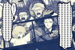 1girl 2boys 3boys bow bowtie car chaldea_uniform driving facial_hair fate/grand_order fate_(series) fleeing fujimaru_ritsuka_(male) gloves ground_vehicle gupaon james_moriarty_(fate/grand_order) map mash_kyrielight monochrome motor_vehicle multiple_boys mustache one_eye_covered screaming sherlock_holmes_(fate/grand_order)