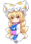 1girl blonde_hair blush breasts chibi clothing_request commentary_request dress eyebrows_visible_through_hair fox_tail frilled_sleeves frills hands_together hat large_breasts legs_together long_sleeves open_mouth pillow_hat short_hair simple_background sleeves_past_wrists socks solo standing tabard tagme tail touhou tsurime white_background white_dress white_legwear wide_sleeves wildcat_(kusonemi) yakumo_ran yellow_eyes