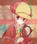 1girl blue_eyes blush bow capelet deerstalker detective green_eyes hair_between_eyes hair_rings hat holding holding_magnifying_glass looking_to_the_side magnifying_glass pink_hair portrait red_capelet ribbon sherlock_shellingford sidelocks solo suta_(clusta) tantei_opera_milky_holmes yellow_bow yellow_neckwear