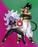 1boy 1girl a_silvers_1997 alternate_costume alternate_form android_21 bardock biceps black_footwear black_hair black_nails black_sclera black_tubetop boots broken_mask commentary cosplay costume_switch crossdressing curly_hair detached_sleeves dragon_ball dragon_ball_fighterz dragon_ball_xenoverse dragon_ball_z_dokkan_battle earrings energy_ball english_commentary full_body glowing green_background hair_between_eyes hand_on_own_elbow hand_over_face harem_pants high_heels highres hoop_earrings jewelry lavender_hair long_hair majin_android_21 mask masked_saiyan meme multicolored multicolored_background nail_polish neck_ring pants pointy_ears pose purple_background purple_skin red_eyes saiyan short_hair spiky_hair standing strapless tail tubetop wrist_cuffs wrist_guards