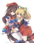 2girls android bangs beret blonde_hair blue_eyes blush breasts brown_hair capcom closed_mouth dress eyebrows_visible_through_hair gloves green_eyes green_ribbon hair_between_eyes hair_ornament hair_ribbon happy hat high_ponytail iris_(rockman_x) leg_up legs_together long_hair looking_at_viewer low-tied_long_hair military_hat multiple_girls open_mouth ponytail red_dress red_hat rento_(rukeai) ribbon rockman rockman_(classic) rockman_8 rockman_x rockman_x4 sidelocks simple_background smile very_long_hair white_background white_gloves