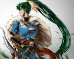 1girl arrow bow_(weapon) bracer breasts cape capelet cowboy_shot delsaber dress earrings expressionless feathers fire_emblem fire_emblem:_rekka_no_ken fire_emblem_heroes fur_cape gauntlets green_eyes green_hair grey_background hair_feathers highres jewelry leaf long_hair long_ponytail looking_at_viewer lyndis_(fire_emblem) medium_breasts pelvic_curtain ponytail profile short_sleeves shoulder_armor solo turtleneck weapon wind