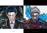 2boys black_hair blue_eyes bow bowtie contrast cravat facial_hair fate/grand_order fate_(series) glasses green_eyes grey_hair james_moriarty_(fate/grand_order) magnifying_glass multiple_boys mustache one_eye_closed pipe sherlock_holmes_(fate/grand_order) shirabi