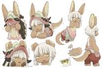 1girl animal_ears arrow blush commentary covering_face embarrassed furry hand_on_own_chin hands_on_own_cheeks hands_on_own_face helmet horns kawasemi27 legs_apart looking_at_viewer looking_down lying made_in_abyss medium_hair motion_lines nanachi_(made_in_abyss) on_stomach open_mouth pants poses sidelocks simple_background solo standing tagme tail tail_wagging translated whiskers white_background