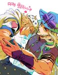 2boys 302 aqua_eyes blonde_hair cowboy_hat dated facial_hair goggles goggles_on_headwear green_eyes green_lipstick gyro_zeppeli hat heart highres hood johnny_joestar jojo_no_kimyou_na_bouken korean lipstick makeup male_focus multiple_boys parted_lips signature star star_print steel_ball_run translation_request wristband