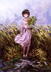 1girl ahoge autumn barefoot belt black_eyes black_hair blush clouds cloudy_sky commentary dirty_feet dress flower head_tilt highres holding looking_at_viewer nature original outdoors reoen short_hair signature sky smile solo water wheat wheat_field white_dress