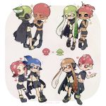 4boys 4girls afro black_skirt blue_eyes blue_hair boots cloak commentary_request couple eye_contact green_eyes green_hair hair_ornament hairpin hand_holding hetero highres inkling kirikuchi_riku looking_at_another midriff miniskirt multiple_boys multiple_girls navel octoling orange_eyes orange_hair pink_eyes pink_hair pointy_ears ponytail shoes shorts skirt smile sneakers sparkle splatoon splatoon_2 splatoon_2:_octo_expansion squidbeak_splatoon sweatdrop tentacle_hair yaoi yuri
