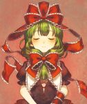 1girl blush bow closed_eyes closed_mouth collar commentary frilled_collar frills front_ponytail green_hair hair_bow hair_ribbon kagiyama_hina puffy_short_sleeves puffy_sleeves red_bow red_ribbon ribbon sasasasa short_sleeves simple_background smile solo tied_hair touhou
