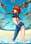 1girl adsouto ahoge asymmetrical_clothes beach blue_sky blush bow breasts brown_hair casual crop_top curly_hair eyebrows_visible_through_hair freckles green_eyes hair_bow highres looking_at_viewer midriff motion_blur navel palm_tree penny_polendina rwby short_hair single_pantsleg sky small_breasts smile solo suspenders sword tree water watermark weapon