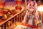 1girl absurdres breasts building chinese_clothes clouds cloudy_sky cup detached_sleeves dress fate/grand_order fate_(series) hair_ribbon heroic_spirit_traveling_outfit high_ponytail highres holding holding_cup holding_saucer horizon horns junpaku_karen lantern long_hair long_sleeves medium_breasts ocean oni oni_horns paper_lantern parted_lips petals ponytail railing red_eyes red_ribbon ribbon saucer sidelocks silver_hair sitting sky sleeveless sleeveless_dress smile solo sun table teacup tomoe_gozen_(fate/grand_order) very_long_hair water white_dress wide_sleeves