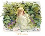 1girl alternate_costume alternate_hairstyle barefoot blue_eyes brooch brooch_removed character_name copyright_name dress envelope flower hair_between_eyes hair_ribbon hands_on_own_knees jewelry knees_up letter long_hair long_sleeves looking_at_viewer outdoors plant red_ribbon ribbon vertigowitch violet_evergarden violet_evergarden_(character) wax_seal white_dress