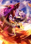 1girl 1other armor armored_boots armored_dress boots breasts camilla_(fire_emblem_if) cleavage clouds cloudy_sky dragon fire_emblem fire_emblem_if full_body gauntlets glowing glowing_eyes hair_over_one_eye helm helmet horned_headwear large_breasts lavender_hair long_hair looking_at_viewer panda_lee red_eyes reins riding roaring sky smile stirrups violet_eyes wyvern