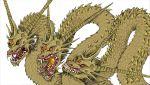 dragon extra_eyes godzilla_(series) highres horns kaijuu king_ghidorah looking_at_viewer monster multiple_heads no_humans open_mouth orange_eyes redtiger243 scales sharp_teeth tagme teeth