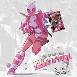 1girl breasts cover cover_page english full_body gurihiru gwen_poole gwenpool katana leotard marvel mask md5_mismatch pig pouch shin_guards shoes small_breasts smile sneakers solo stuffed_animal stuffed_shark stuffed_toy sword weapon
