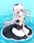1girl :t absurdres animal_ears apron azur_lane bangs black_bow black_dress blue_eyes blush bow cat_ears closed_mouth commentary_request day detached_sleeves dress eyebrows_visible_through_hair frilled_dress frills hair_bow hair_ribbon hammann_(azur_lane) hand_up highres long_hair looking_at_viewer one_side_up outdoors pout puffy_short_sleeves puffy_sleeves red_ribbon remodel_(azur_lane) ribbon short_sleeves silver_hair sitting solo strapless strapless_dress suzu_(minagi) very_long_hair waist_apron water white_apron