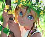1girl blonde_hair blue_eyes closed_mouth commentary daisy eyes flower hair_between_eyes hands_up head_wreath leaf litra_(ltr0312) looking_at_viewer original smile solo symbol_commentary white_flower