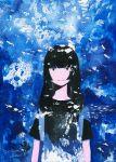 1girl aquarium black_eyes black_hair blue color_ink_(medium) light_smile long_hair mole mole_under_mouth no_nose original signature solo texture traditional_media wayukako