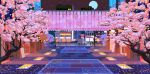 animated animated_gif bus car cherry_blossoms city full_moon ground_vehicle moon motor_vehicle night no_humans outdoors pavement petals pixel_art pocket_rumble railing road scenery sky star_(sky) starry_sky waneella