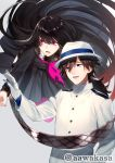 1boy 1girl :d bangs black_eyes black_hair black_shirt black_skirt brown_hair brown_scarf commentary_request eyebrows_visible_through_hair fate/grand_order fate_(series) flying gloves gradient_hair grey_background hair_between_eyes hand_up hat head_tilt jacket long_hair long_sleeves multicolored_hair neckerchief open_mouth oryou_(fate) pantyhose pink_legwear pink_neckwear pleated_skirt red_eyes redhead ryuuki_(hydrangea) sakamoto_ryouma_(fate) scarf shirt simple_background skirt smile standing torn_clothes torn_neckerchief twitter_username very_long_hair white_gloves white_hat white_jacket