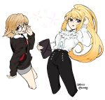 2girls 302 atra_mixta bag bespectacled blonde_hair brown_hair dated from_side glasses gundam gundam_tekketsu_no_orphans handbag high_ponytail highres kudelia_aina_bernstein long_hair multiple_girls red_eyes sidelocks twitter_username very_long_hair violet_eyes