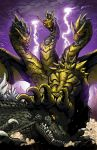 battle claws clouds dragon fangs glowing glowing_eyes godzilla godzilla_(series) horns kaiju_samurai kaijuu keizer_ghidorah lightning monster multiple_heads no_humans official_art open_mouth personification red_eyes scales sharp_teeth tail teeth wings
