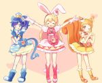 3girls :d ;) ;d ^_^ ^o^ aikatsu! aikatsu!_(series) animal_ears arisugawa_otome arms_up blonde_hair blue_eyes blue_hair blush boots bow bowtie brown_eyes cake_hair_ornament choker closed_eyes closed_eyes commentary_request cosplay cure_custard cure_custard_(cosplay) cure_gelato cure_gelato_(cosplay) cure_whip cure_whip_(cosplay) double_bun dress earrings elbow_gloves extra_ears finger_gun food food_themed_hair_ornament fruit gloves hair_ornament heart heart_background heart_hands hoshimiya_ichigo jewelry kimoko kirakira_precure_a_la_mode kiriya_aoi lion_ears lion_tail long_hair looking_at_viewer magical_girl multiple_girls namesake one_eye_closed open_mouth orange_hair precure puffy_sleeves rabbit_ears side_ponytail skirt smile squirrel_ears squirrel_tail strawberry tail