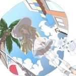 1girl alolan_form alolan_vulpix blonde_hair blue_sky braid clouds creatures_(company) day dress game_freak gen_1_pokemon green_eyes hand_on_headwear hari611 hat highres lamppost lillie_(pokemon) long_hair nintendo palm_tree parted_lips pokemon pokemon_(creature) pokemon_(game) pokemon_sm reflection sky sleeveless sleeveless_dress sun_hat tree twin_braids white_dress white_hat