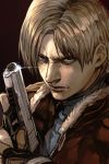 1boy blue_eyes fingerless_gloves frown fur_trim gloves gun handgun hankuri leon_s_kennedy male_focus pistol resident_evil resident_evil_4 trigger_discipline weapon