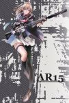 1girl ar-15 asymmetrical_clothes asymmetrical_legwear bangs black_legwear blue_eyes brown_hair character_name clothes_writing coat dress fingerless_gloves full_body garter_belt girls_frontline gloves gun hair_between_eyes hair_ornament hair_ribbon holding holding_gun holding_weapon kneehighs long_hair looking_at_viewer midair miniskirt necktie open_clothes open_coat pleated_skirt ribbon rifle shoes skirt sniper_rifle solo st_ar-15_(girls_frontline) suppressor tanikku thigh-highs weapon white_dress white_skirt wind