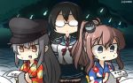 3girls :d alternate_costume black_hair black_hat blue_eyes blue_sailor_collar blue_shirt blue_skirt brown_hair commentary_request dated floral_print gangut_(kantai_collection) glasses hairband hamu_koutarou hat highres hitodama holding holding_paper japanese_clothes kantai_collection kimono long_hair long_sleeves multiple_girls necktie obi ooyodo_(kantai_collection) open_mouth orange_eyes paper peaked_cap pleated_skirt red_neckwear sailor_collar saratoga_(kantai_collection) sash shaded_face shirt side_ponytail skirt smile white_hair white_hairband wide_sleeves yukata
