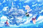 2girls ahoge bangs blue blue_eyes blue_sky capelet castle clouds cloudy_sky commentary_request dress fantasy floral_print fog food fruit holding hood hood_down hooded_capelet jet_ski long_hair looking_at_viewer looking_back multiple_girls original parted_lips red_dress sakimori_(hououbds) sandals scenery short_hair sitting sky smile standing very_long_hair wading watch watch water watermelon white_capelet white_dress
