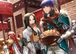 armor black_hair blue_eyes blue_hair braid brother_and_sister brown_hair cape dress facial_mark fire_emblem fire_emblem:_akatsuki_no_megami fire_emblem:_souen_no_kiseki food gloves green_eyes headband ike ilyana long_hair male_focus mist_(fire_emblem) multiple_boys red_eyes redhead short_hair siblings smile soren tiamat_(fire_emblem) wani_(fadgrith)