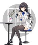 1girl akanebi azur_lane bangs black_hair black_legwear breasts chair choukai_(azur_lane) closed_mouth cup eyebrows_visible_through_hair hair_between_eyes hair_ornament highres holding holding_cup izumo_neru large_breasts long_hair long_sleeves looking_at_viewer mug pleated_skirt sitting skirt smile solo table thigh-highs yellow_eyes