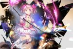1girl absurdres bow bow_(weapon) breasts bubble_skirt choker commentary_request gloves hair_bow highres holding holding_bow_(weapon) holding_weapon jewelry kaname_madoka looking_at_viewer mahou_shoujo_madoka_magica necklace parted_lips pink_bow pink_hair puffy_short_sleeves puffy_sleeves red_choker red_footwear shoes short_hair short_sleeves skirt small_breasts socks solo twintails weapon white_gloves white_legwear white_skirt yuugen