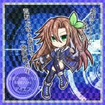 1girl blush blush_stickers boots breasts brown_hair chagama_(tyagama0927) choujigen_game_neptune cibia clenched_hand closed_mouth commentary_request dark_persona flat_chest full_body green_eyes hair_between_eyes highres if_(choujigen_game_neptune) long_hair looking_at_viewer neptune_(series) translation_request