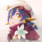 :o bandaid bandaid_on_nose blue_hair bow capelet commentary_request copyright_request flower hair_ornament hana_(xenoblade) hat hat_bow headgear mechanical_ears nintendo orange_eyes parted_lips pink_bow red_capelet reiesu_(reis) ringed_eyes signature solo upper_body white_flower white_hat xenoblade xenoblade_(series) xenoblade_2