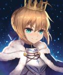 1girl absurdres ahoge aqua_eyes armor artoria_pendragon_(all) bangs blonde_hair blue_background blue_cape blue_ribbon braid breastplate cape closed_mouth commentary_request crown doratama123 eyebrows_visible_through_hair fate/stay_night fate_(series) fur-trimmed_cape fur_trim gradient gradient_background hair_ribbon highres light_particles portrait ribbon saber short_hair sidelocks smile solo