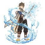 1boy black_pants blue_shirt boots brown_hair cape earrings feather_earrings full_body gloves green_eyes grey_footwear grey_gloves hair_between_eyes highres holding holding_sword holding_weapon jewelry looking_at_viewer pants sheath shirt simple_background smile solo sorey_(tales) spiky_hair standing sword tales_of_(series) tales_of_zestiria unsheathed water weapon white_background white_cape