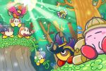 backpack bag beetley bird birdon bow bowtie commentary_request como_(kirby) flying_sweatdrops forest headdress headphones helmet hoshi_no_kirby hoshi_no_kirby_3 hoshi_no_kirby_sanjou!_dorocche_dan kirby kirby's_dream_land_3 kirby_(series) kirby_squeak_squad light_rays microphone mouse native_american_headdress nature official_art pith_helmet plant red_neckwear sleeping spinni squeakers sunbeam sunlight tree video_camera vines waddle_dee waving_arms