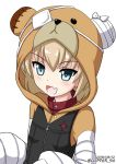 1girl :d animal_costume bandage bangs bear_costume bear_hood black_vest blonde_hair blue_eyes boko_(girls_und_panzer) cast commentary dated emblem eyebrows_visible_through_hair fang flipper girls_und_panzer katyusha looking_at_viewer open_mouth pajamas red_shirt shirt short_hair simple_background smile solo standing turtleneck twitter_username upper_body vest white_background