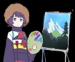 1girl afro black_background closed_mouth commentary_request fate/grand_order fate_(series) holding japanese_clothes jitome katsushika_hokusai_(fate/grand_order) kimono long_sleeves looking_at_viewer obi oyaji-sou painting_(object) palette purple_hair purple_kimono sash short_hair sketch solo standing violet_eyes wig