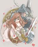 1boy 1girl adelbert_steiner armor beatrix belt breasts brown_eyes brown_hair cleavage commentary_request eyepatch final_fantasy final_fantasy_ix gloves highres large_breasts long_hair save_the_queen sword uzutanco weapon