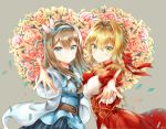 2girls ahoge bangs black_shirt blue_eyes blue_hairband blue_jacket blue_skirt blush collared_shirt crossover dress_shirt epaulettes eyebrows_visible_through_hair fate/extra fate/grand_order fate_(series) flower girls_frontline green_eyes grey_background hair_intakes hair_ornament hair_ribbon hairband jacket juliet_sleeves light_brown_hair long_hair long_sleeves looking_at_viewer melynx_(user_aot2846) multiple_girls nero_claudius_(fate) nero_claudius_(fate)_(all) outstretched_arm petals puffy_sleeves red_ribbon ribbon shirt short_hair skirt smile snowflake_hair_ornament standing striped suomi_kp31_(girls_frontline) vertical-striped_skirt vertical_stripes wide_sleeves