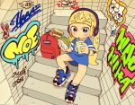 1girl aqua_eyes backpack bag blonde_hair blush bracelet drink drinking food graffiti haaam headphones hip_hop jewelry long_hair original sandwich shoes sitting sneakers solo stairs twintails