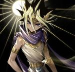 1boy armlet bare_shoulders black_hair blonde_hair blue_scarf bright_pupils closed_mouth commentary_request earrings egyptian_clothes glint hair_between_eyes headpiece jewelry looking_at_viewer male_focus maruchi millennium_puzzle multicolored_hair scarf smile solo two-tone_hair upper_body violet_eyes yami_yuugi yu-gi-oh!