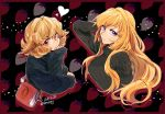 2girls 302 atra_mixta bag blonde_hair border breasts chin_rest dated food fruit gundam gundam_tekketsu_no_orphans hand_behind_head handbag heart highres kudelia_aina_bernstein large_breasts long_hair multiple_girls outline red_border red_eyes ribbed_sweater sleeves_past_wrists strawberry strawberry_background sweater turtleneck turtleneck_sweater twitter_username violet_eyes