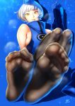 1girl black_legwear blue_background boots elizabeth_(persona) feet gloves hat highres k.ty_(amejin) pantyhose persona persona_3 shoes_removed short_hair soles sweat toes white_hair yellow_eyes